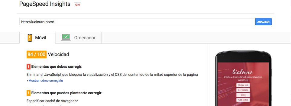 PageSpeed Insights de Google para comprobar la calidad de un tema