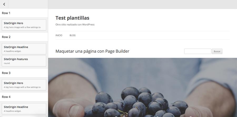 El editor en vivo de Page Builder