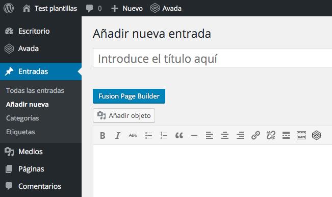 Escribiendo un nuevo post en Avada