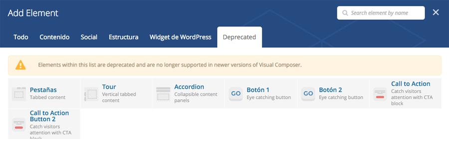 Visual Composer indica los botones que se quedan obsoletos