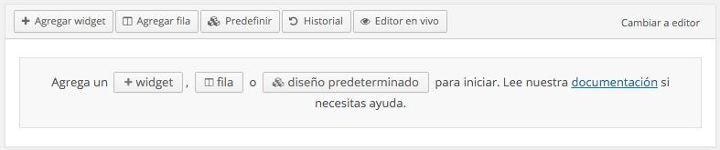 Esta es la interfaz de Page Builder
